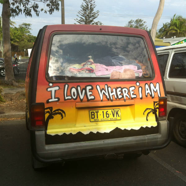 Painted hippy camper van in byron bay australia